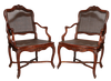 Pair Regence Caned Armchairs