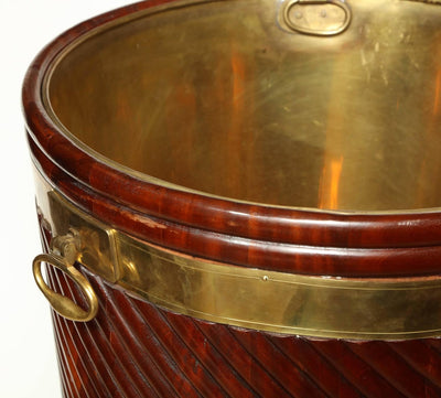 Large Irish George III Mahogany Peat Bucket