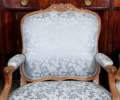 Pair of Louis XV Carved Fauteuils a la Reine