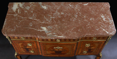 French Louis XV / XVI Transitional Marble Top Break Front Marquetry Commode