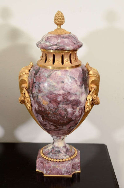 Pair of Rouge Marble Urns