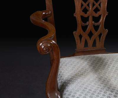 Fine Irish George II Mahogany Ball and Claw Foot Arm Chair