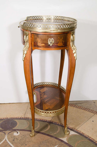 Louis XV Oval Marquetry Side Table