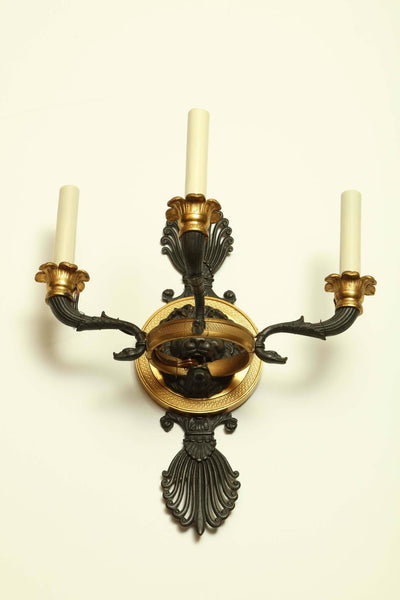 Pair of French Empire gilt bronze Sconces