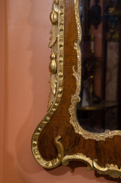 George II Walnut and Gilt Mirror