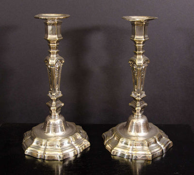 Pair Louis XIV Silvered Bronze Candlesticks
