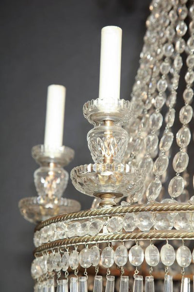 French Crystal and Bronze Six-Light Chandelier