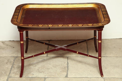 English Red Lacquered Papier Mâché Tray Table