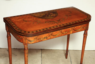 Sheraton Satinwood Painted Card Table
