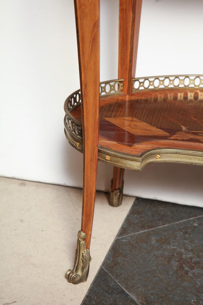 French Transitional Marquetry Oval Side Table