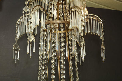 Swedish Neoclassic Bronze and Crystal Chandelier