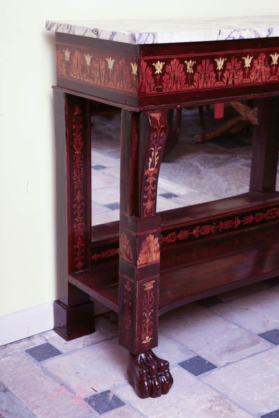 Charles X Inlaid Pier Mirror and Console