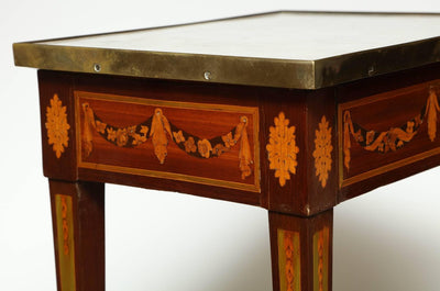 Louis XVI Marble-Top Inlaid Side Table