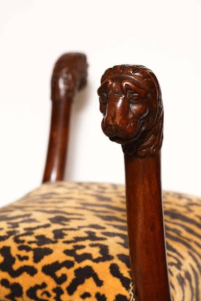 Regency Lion Head Curule Stool