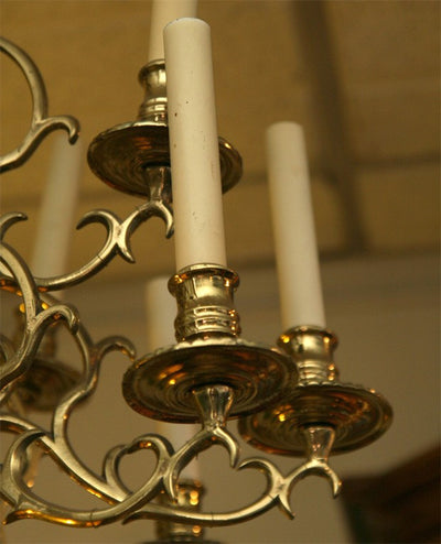 Unusual French Brass 15 Light Chandelier