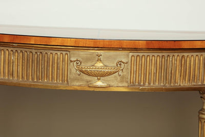 George III (Adam) Satinwood and Gilt Demilune Console