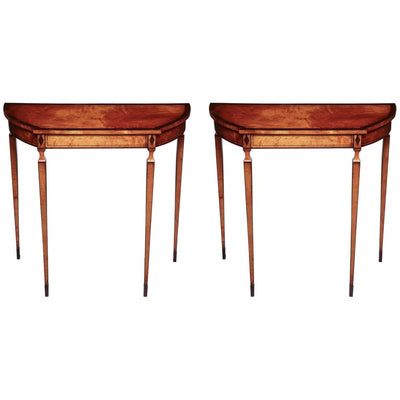 Pair of Edwardian Satinwood Console Table