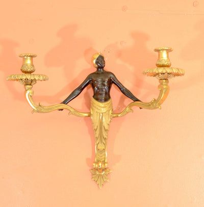 Pair Louis XV Bronze Nubian Two Light Sconces