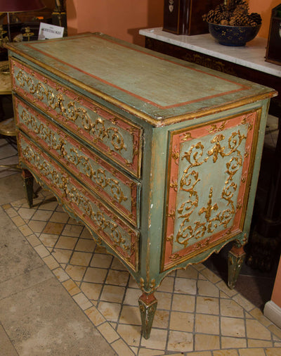 Italian Carved Parcel Gilt Commode
