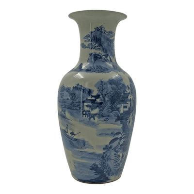 Pair of Chinese Blue and White Lake Vases