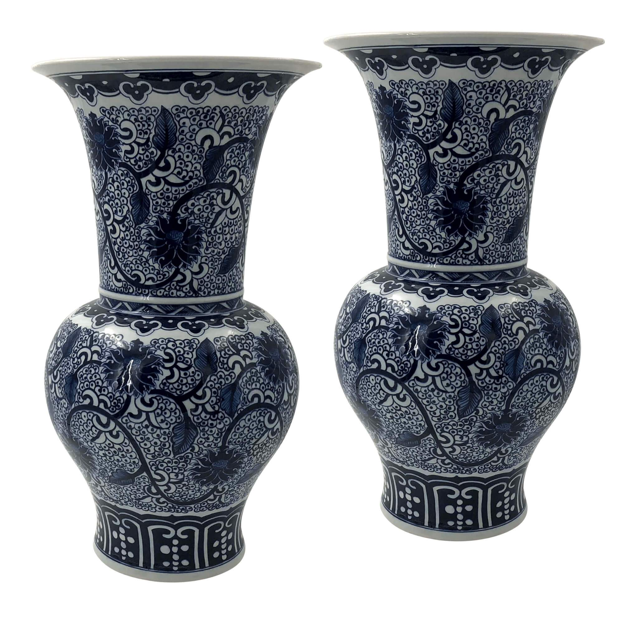 225 & Pair of Hand Painted Chinese Export Flower Vases