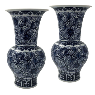 Pair of Hand Painted Chinese Export Flower Vases