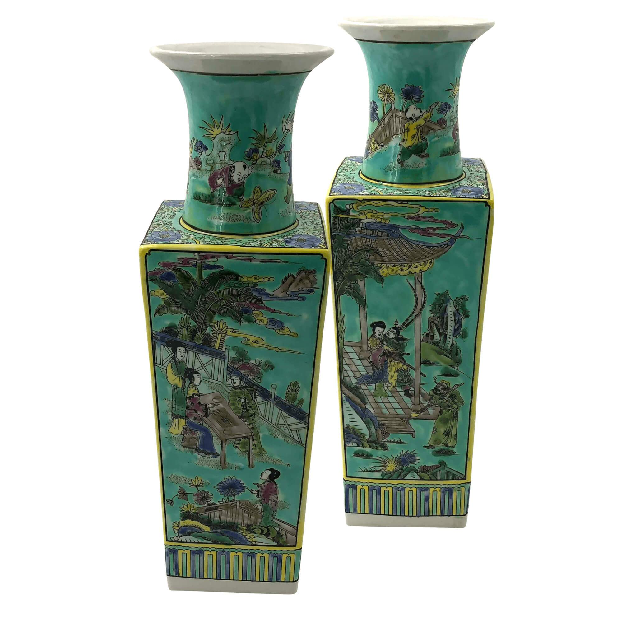 225 & Pair of Large Chinese Flower Vases