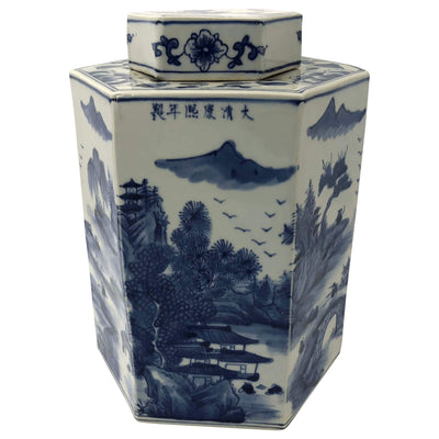 Pair of Chinese Blue and White Octagonal Tea Canisters