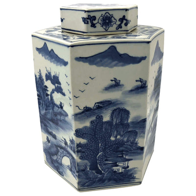 Chinese Blue and White Octagonal Tea Canisters