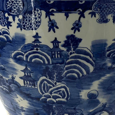 Chinese Blue And White Fishbowl Planter Georgenantiques