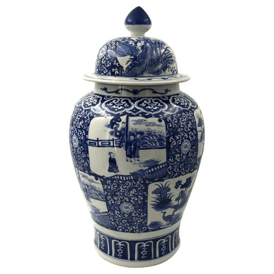 Chinese Blue and White Temple Jar with panel scenes