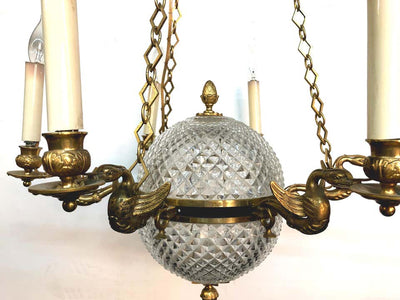 French Empire Crystal Ball Chandelier