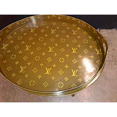 Louis Vuitton Hand Painted Tray on Stand