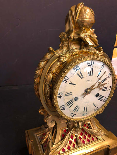 Fine French Louis XVI Bronze Mantel Clock by Marquis a Paris