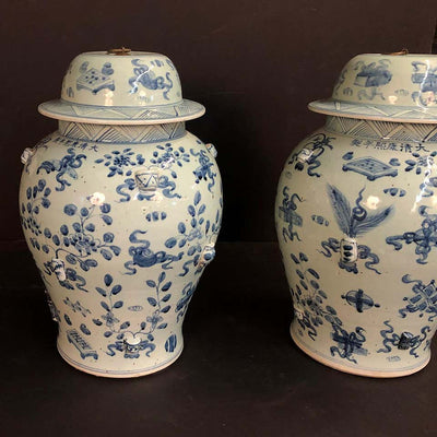Large Pair of Chinese Export Temple Jar