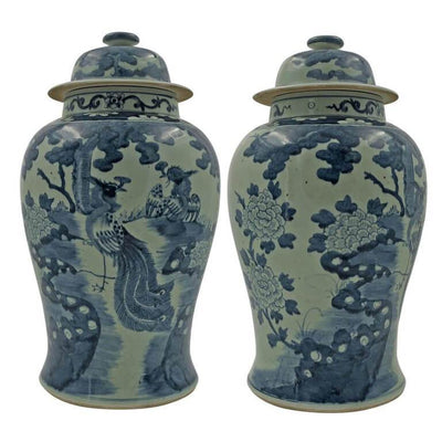 Chinese Pheasant Temple Jar