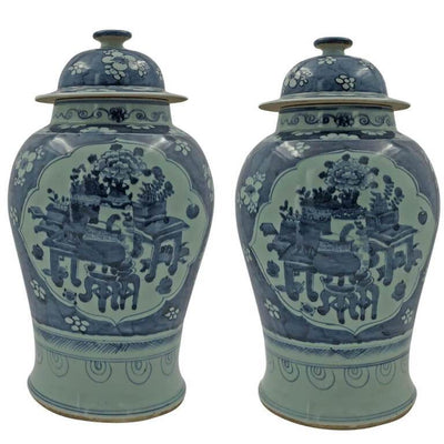 Pair of Large Chinese Still Life Temple Jar