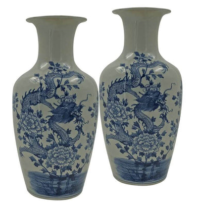 Blue and White Flared Dragon Vases