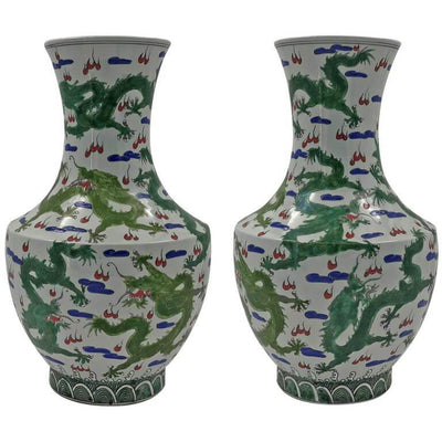 Pair of Chinese Green Dragon Hu-Shaped Vases