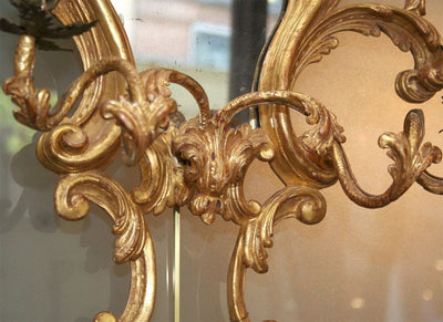 Fine Pair of Gilt Wood Two Arm Girandole Sconce Mirrors