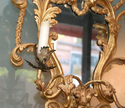 Fine Pair of George III Giltwood Two-Light Sconces