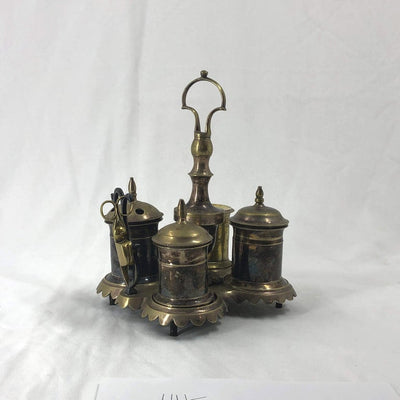 Silvered Brass Standish