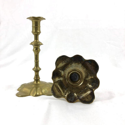 Rare Pair of Queen Anne Brass Candlesticks