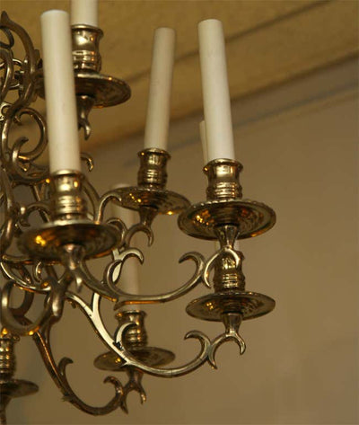 Early Brass Fifteen-Arm Chandelier