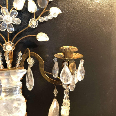 Pair of Rock Crystal Floral Urn Sconces