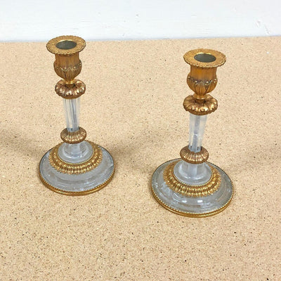 Pair of Louis XVI Rock Crystal Candlesticks
