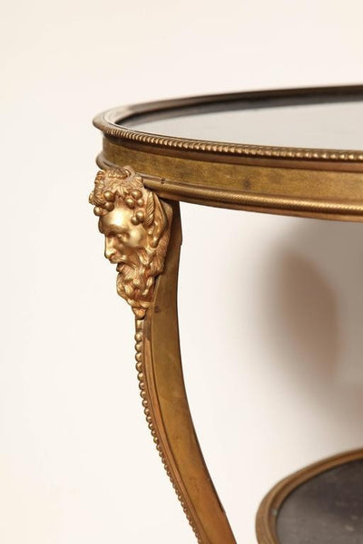 Louis XVI Style Bronze and Marble Gueridon with Bacchus Mounts