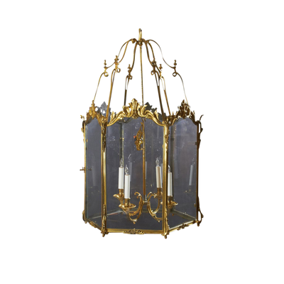Fine Large Gilt Bronze Chateau Lantern