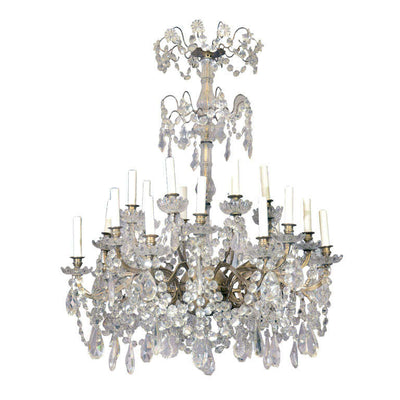Louis XV - XVI Bronze and Crystal 24 Light Chandelier