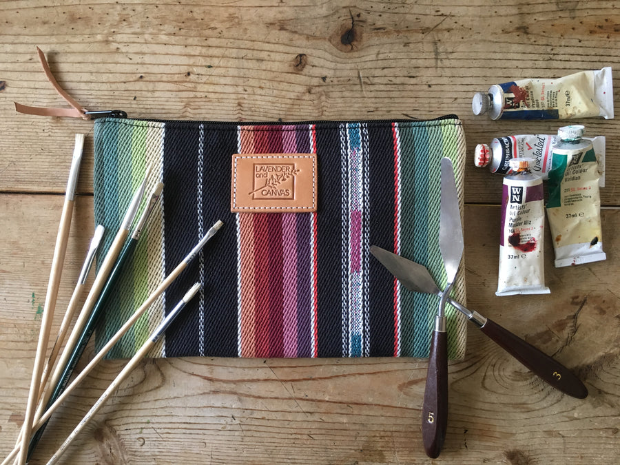 Black Desert Stripe Pouch